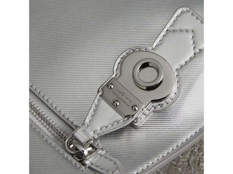 Metallic Trench Leather Pouch in Silver - Women | Burberry United States - cell image 1