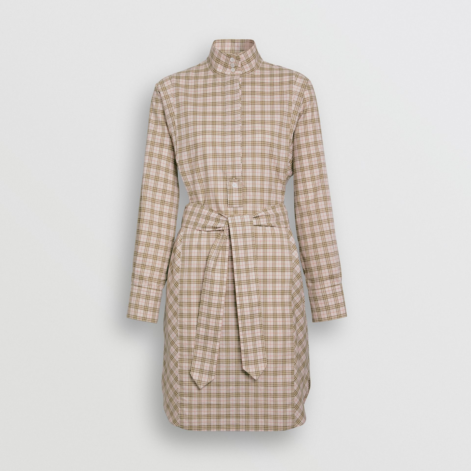 Check Cotton Tie-waist Shirt Dress in Ice Pink - Women | Burberry United Kingdom - gallery image 3