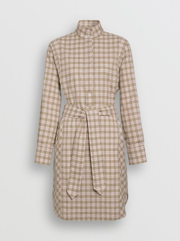 Check Cotton Tie-waist Shirt Dress in Ice Pink - Women | Burberry - cell image 3