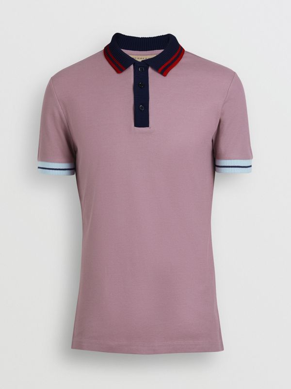 Two-tone Stripe Knitted Detail Cotton Polo Shirt in Heather Pink - Men | Burberry - cell image 3