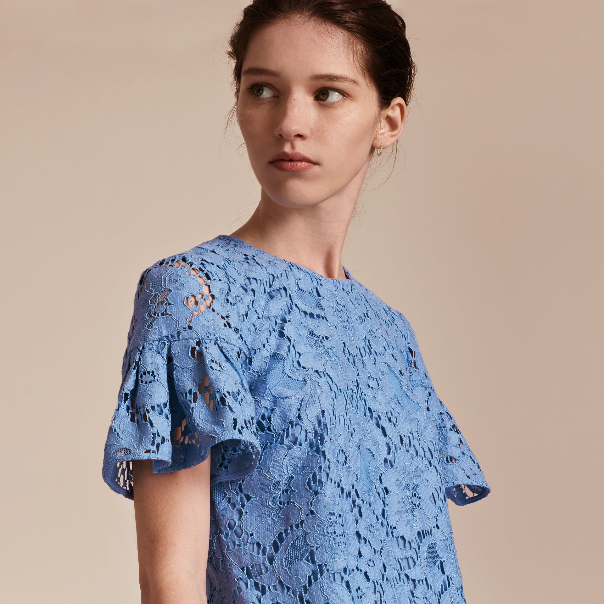 Macramé Lace Shift Dress with Ruffle Sleeves Cornflower - gallery image 5