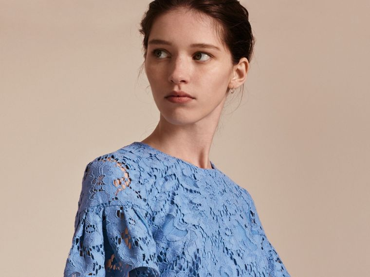 Macramé Lace Shift Dress with Ruffle Sleeves Cornflower - cell image 4