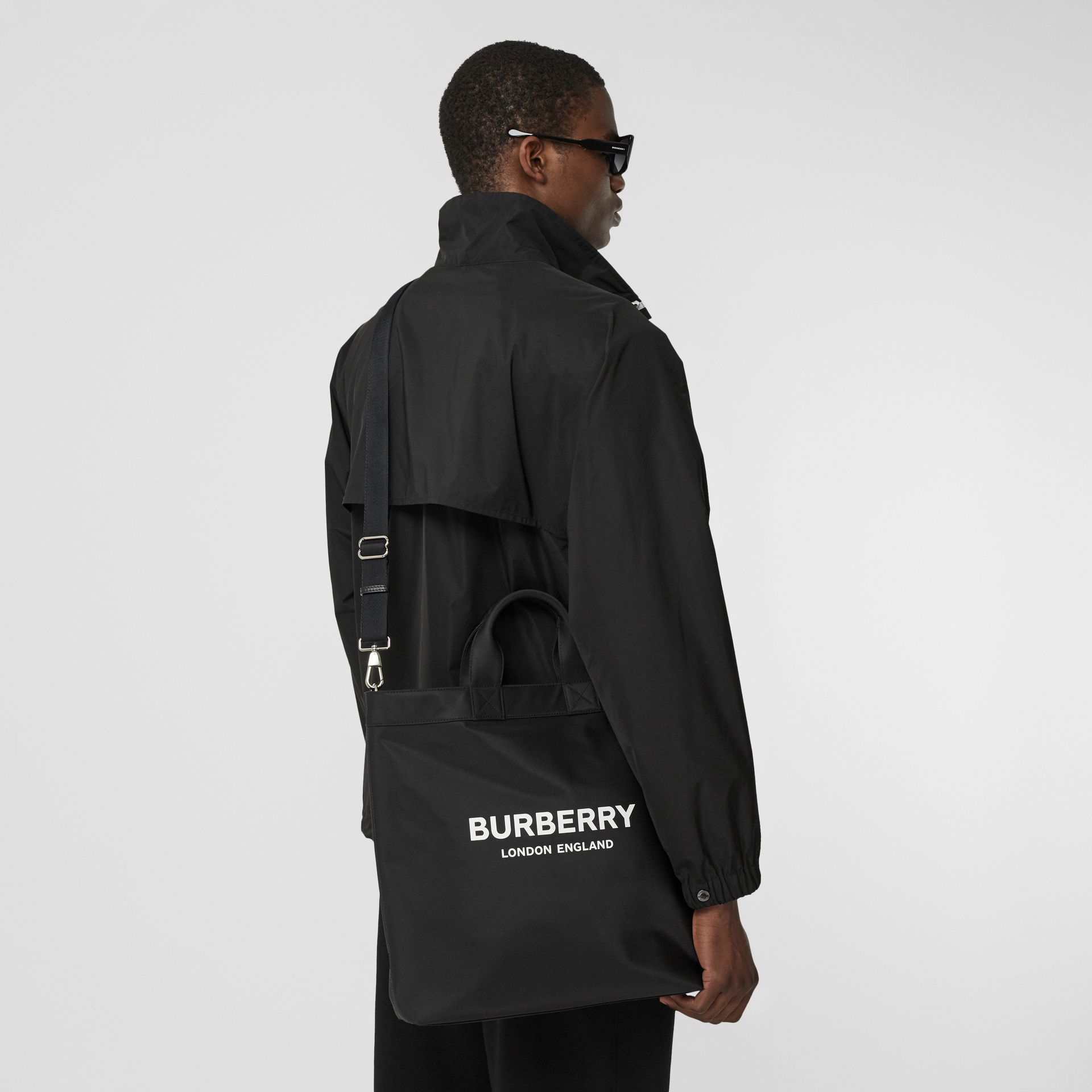 Logo Print ECONYL® Tote in Black - Men | Burberry - gallery image 3