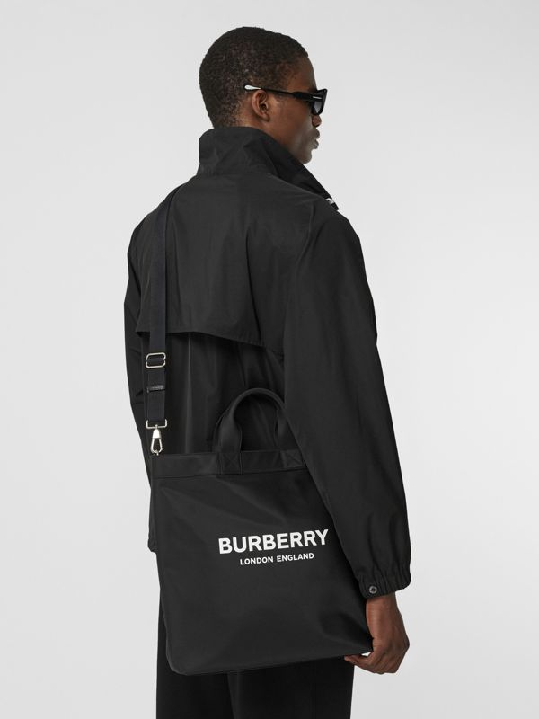 Logo Print ECONYL® Tote in Black - Men | Burberry - cell image 3