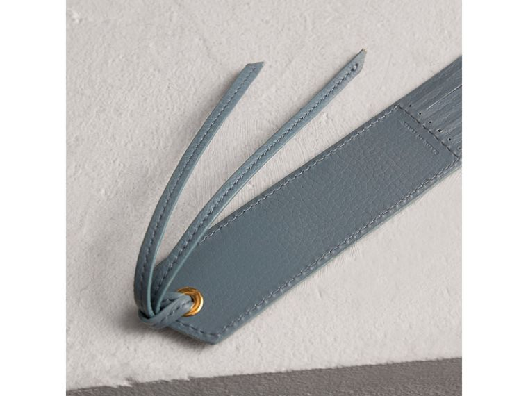Embossed Leather Bookmark in Dusty Teal Blue | Burberry - cell image 2