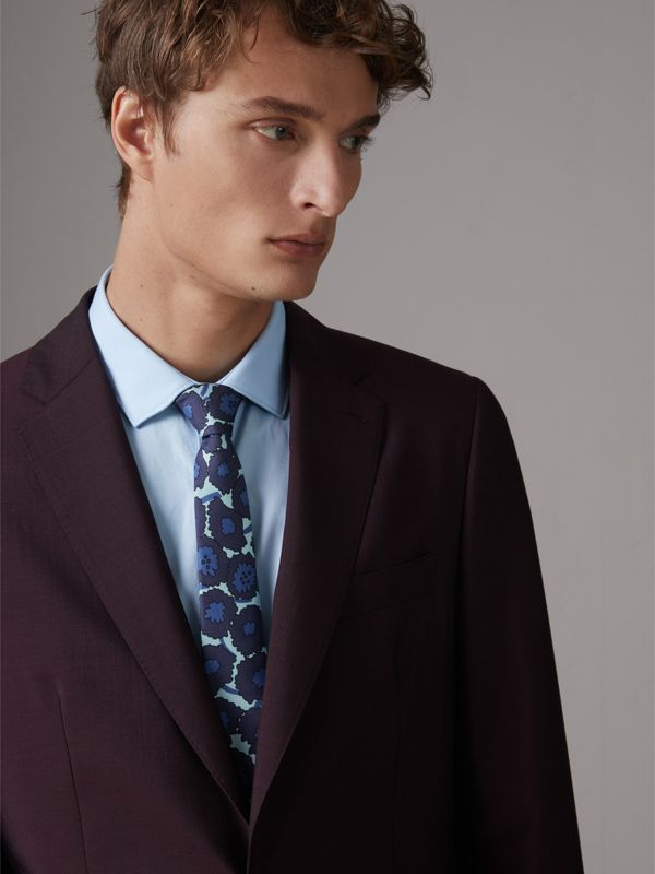 Slim Cut Abstract Floral Print Silk Tie in Indigo Blue - Men | Burberry - cell image 2
