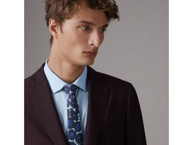 Slim Cut Abstract Floral Print Silk Tie in Indigo Blue - Men | Burberry Singapore - cell image 2