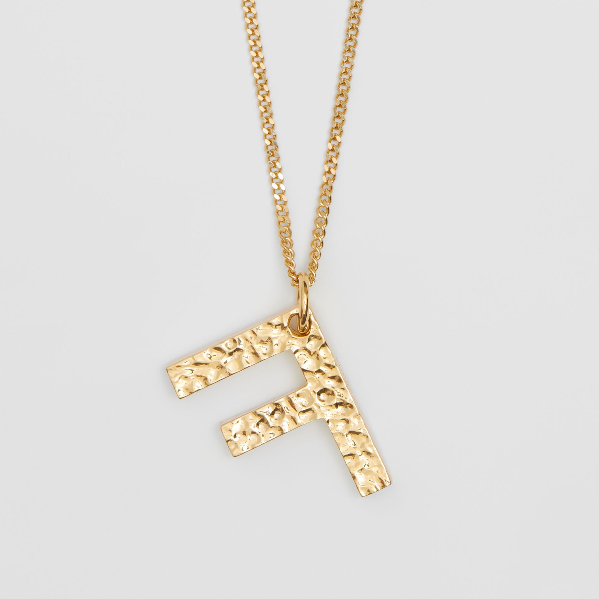 'F' Alphabet Charm Gold-plated Necklace in Light - Women | Burberry United Kingdom - gallery image 2