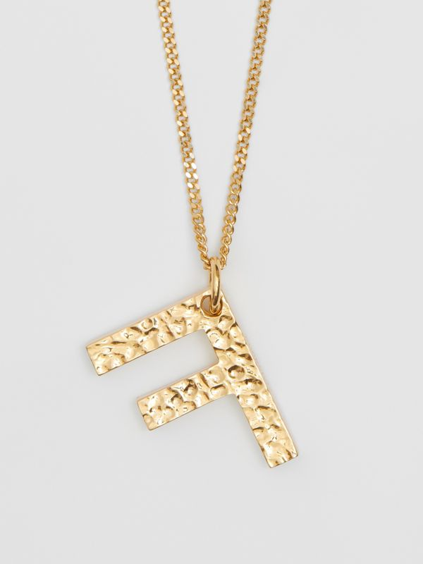 'F' Alphabet Charm Gold-plated Necklace in Light - Women | Burberry United Kingdom - cell image 2