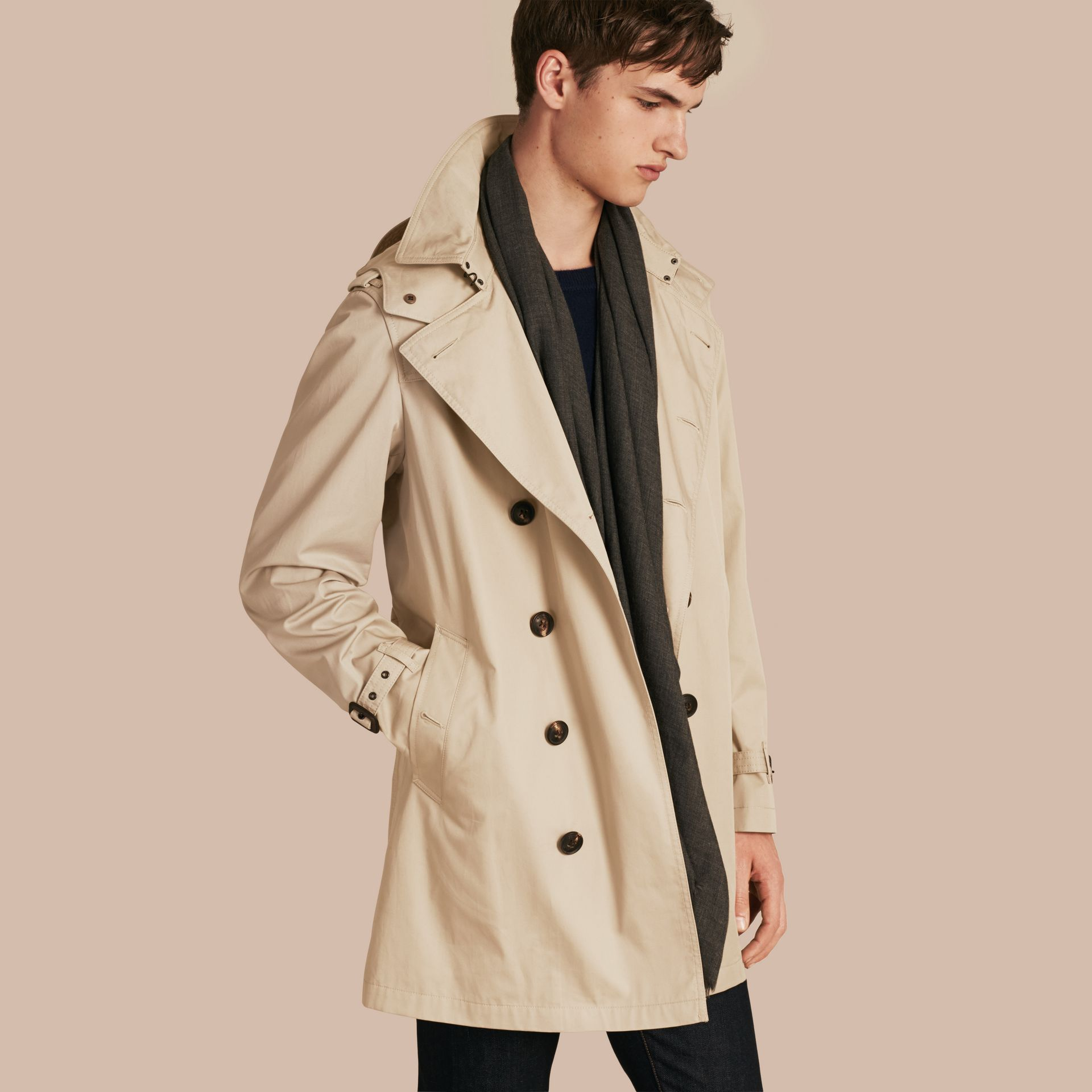 Taupe Cotton Trench Coat with Detachable Hood Taupe - gallery image 1
