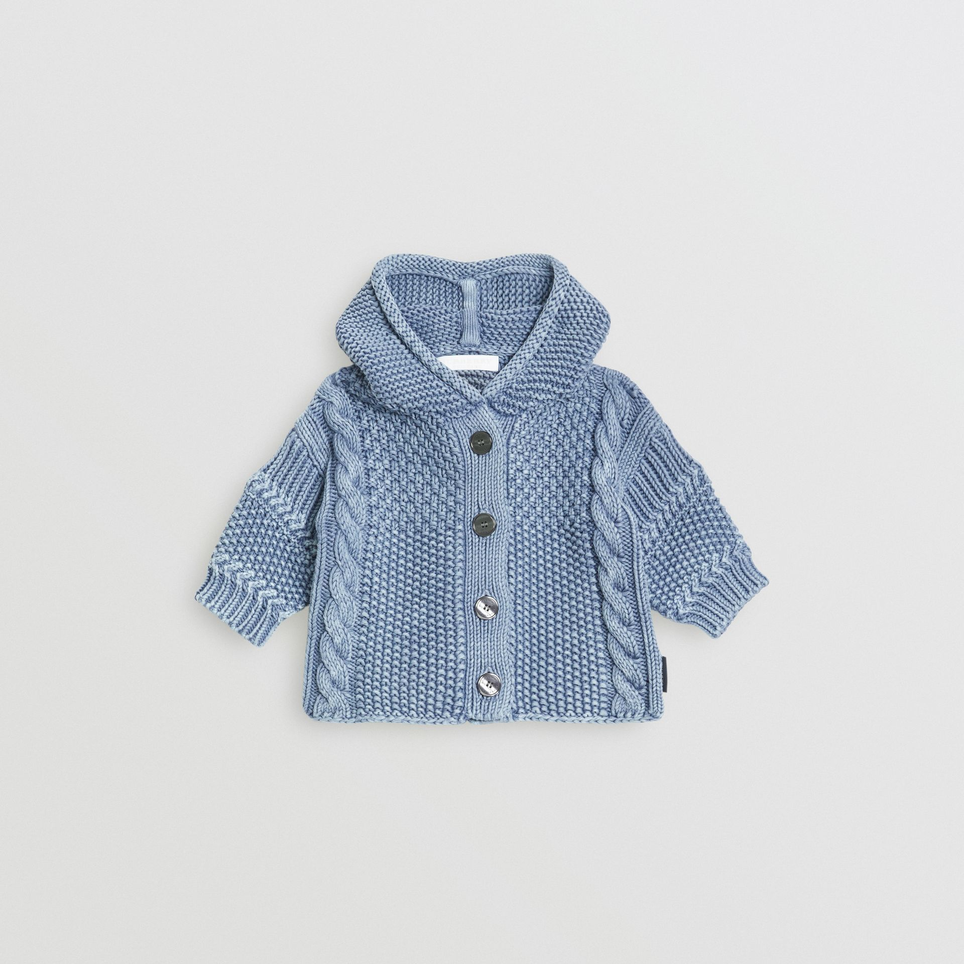 Contrast Knit Cotton Hooded Jacket in Dusty Blue - Children | Burberry - gallery image 0