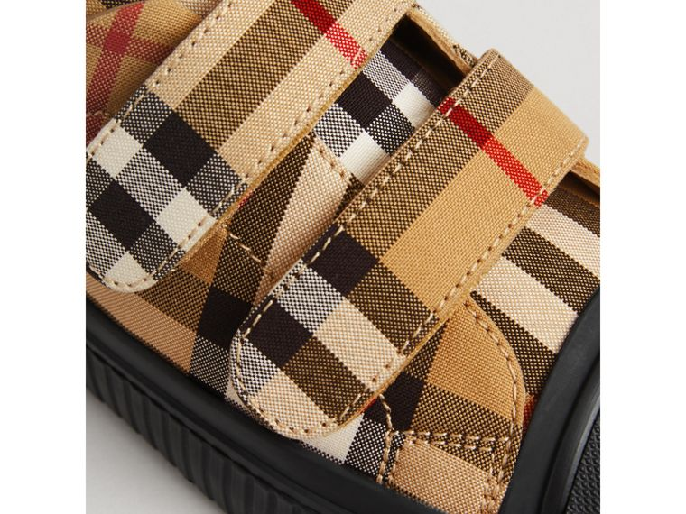 Vintage Check and Leather Sneakers in Antique Yellow/black | Burberry Australia - cell image 1