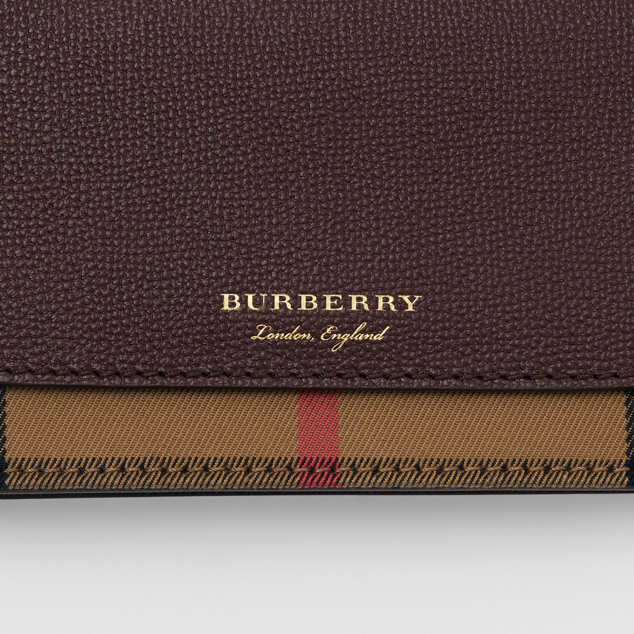 Small Leather and House Check Crossbody Bag in Mahogany Red - Women | Burberry - 2