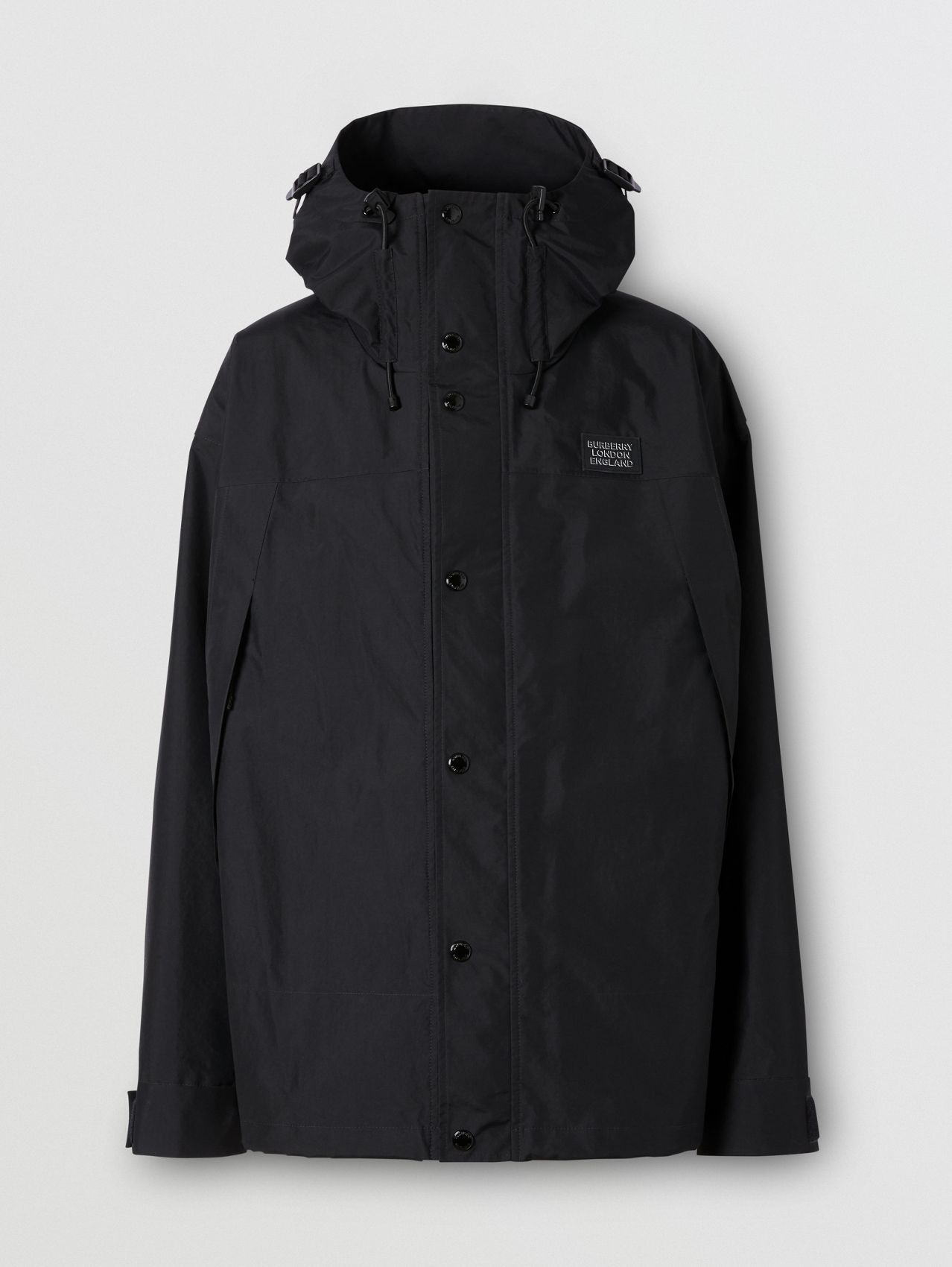 Logo Appliqué Nylon Hooded Jacket in Black