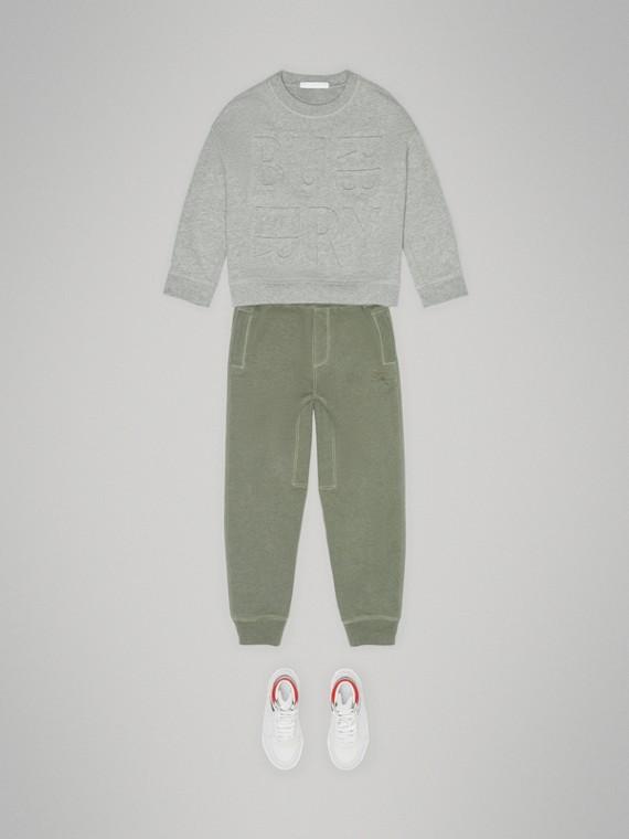 Suéter de algodão com logotipo em relevo (Cinza Mesclado)