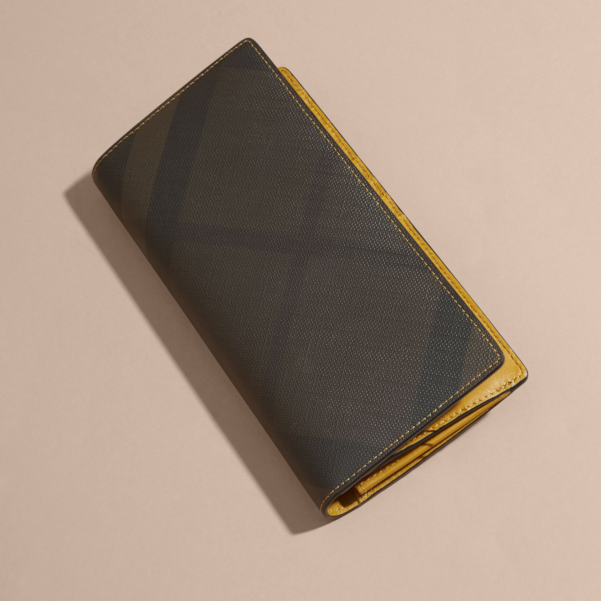 London Check and Leather Continental Wallet Larch Yellow - gallery image 3