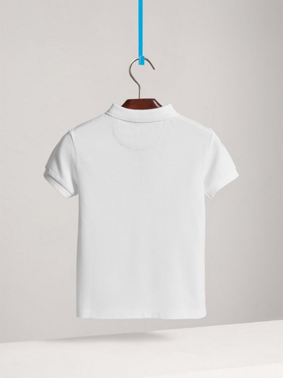 Check Placket Polo Shirt in White - Boy | Burberry - cell image 3