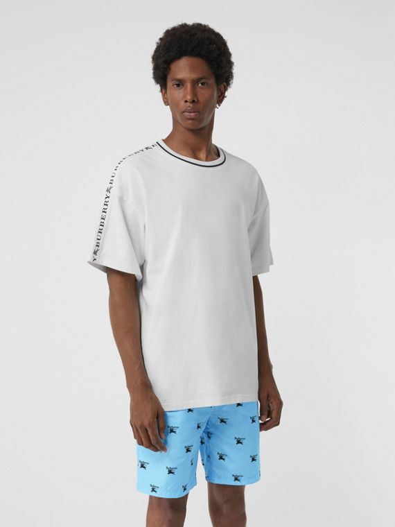 Archive Logo Drawcord Swim Shorts in Sky Blue
