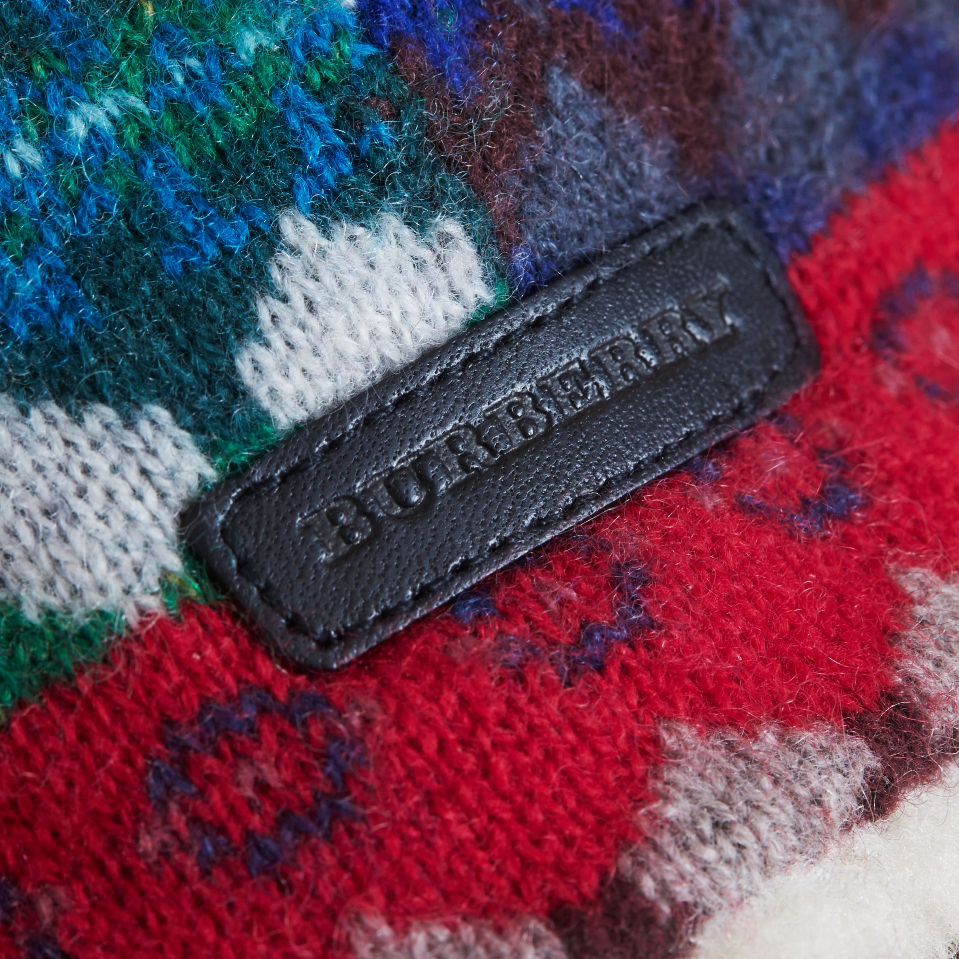 Fair Isle Wool Cashmere Trapper Hat in Rosewood | Burberry United States - gallery image 1
