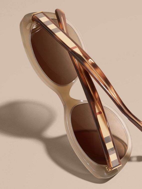 Check Detail Cat-eye Sunglasses in Chino Grey - Women | Burberry Canada - cell image 3