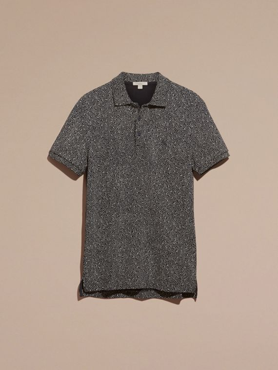Navy Painterly Spot Print Cotton Polo Shirt Navy - cell image 3