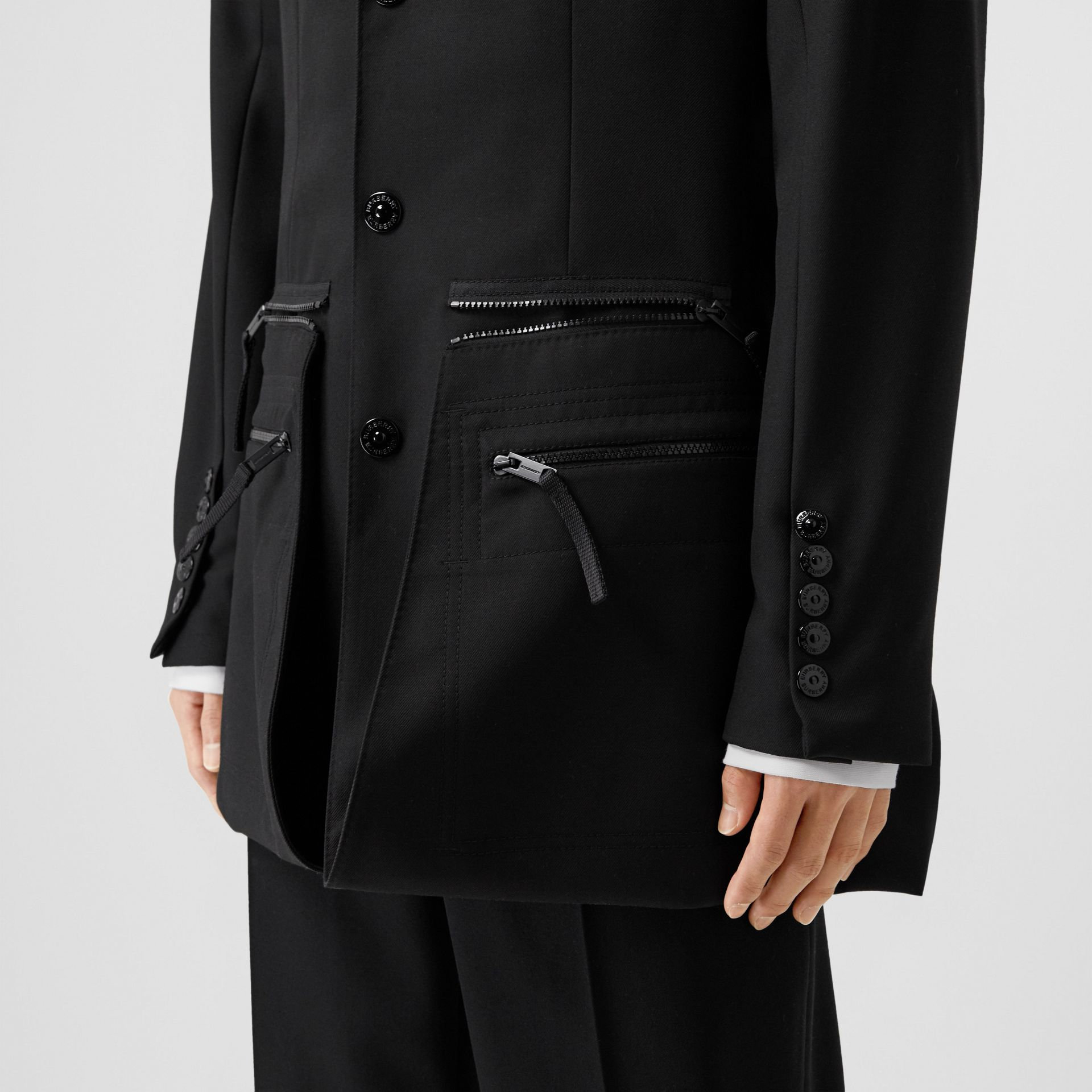Slim Fit Zip Panel Wool Twill Blazer in Black | Burberry - gallery image 8