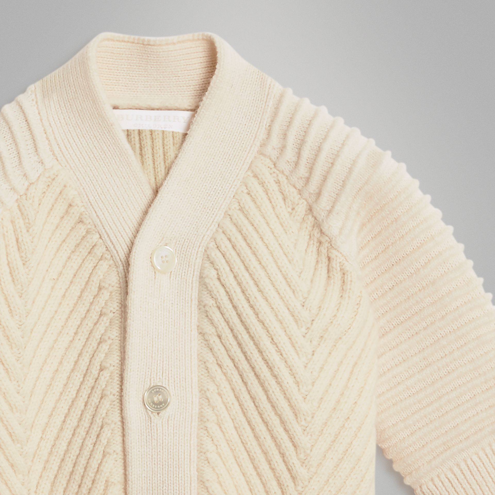 Rib Knit Wool Cashmere Cardigan in Ivory - Children | Burberry Australia - gallery image 4