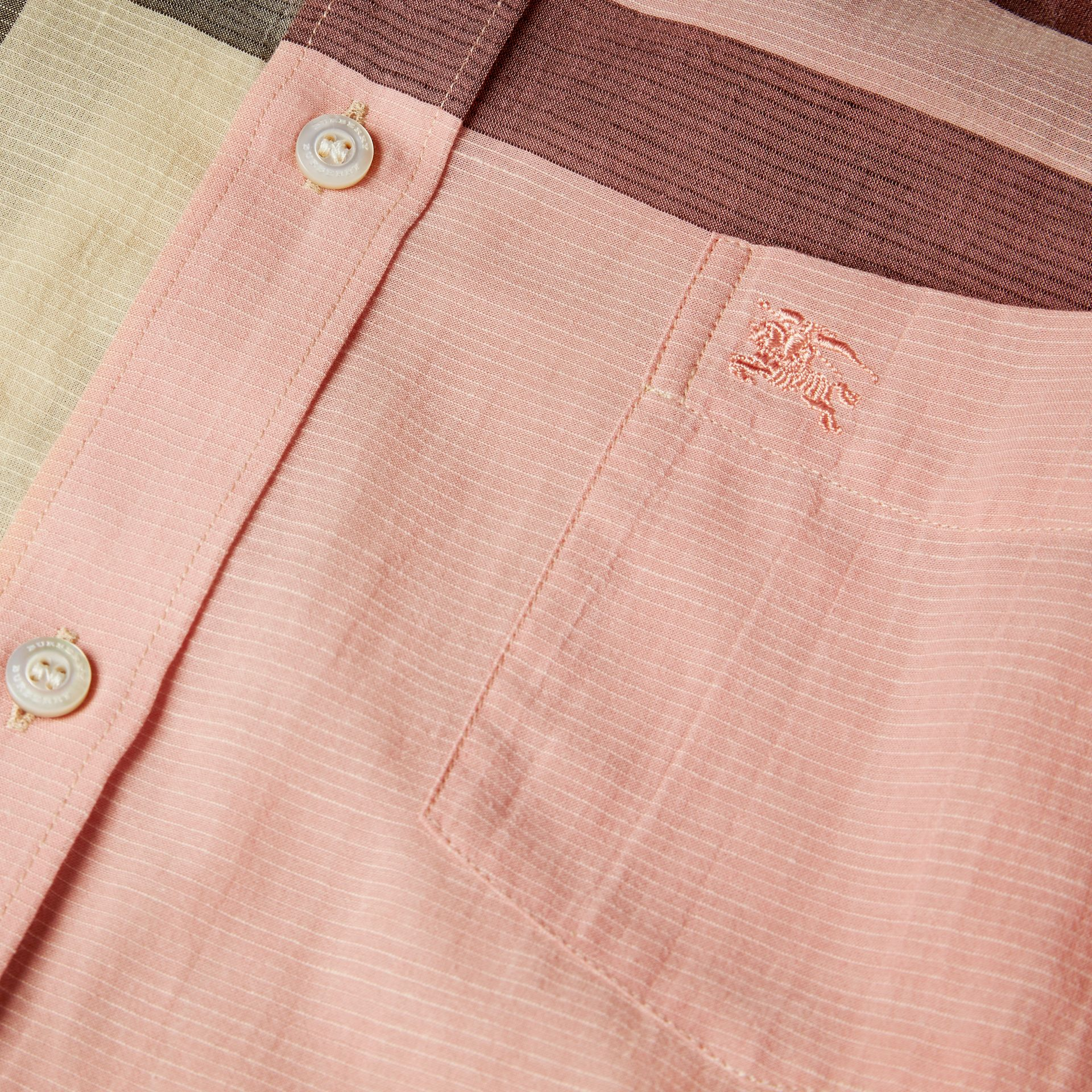 Check Cotton Poplin and Linen Shirt in Rose Pink - gallery image 2