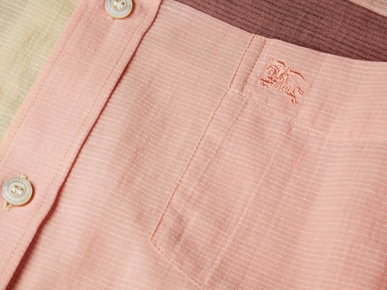 Check Cotton Poplin and Linen Shirt in Rose Pink - cell image 1