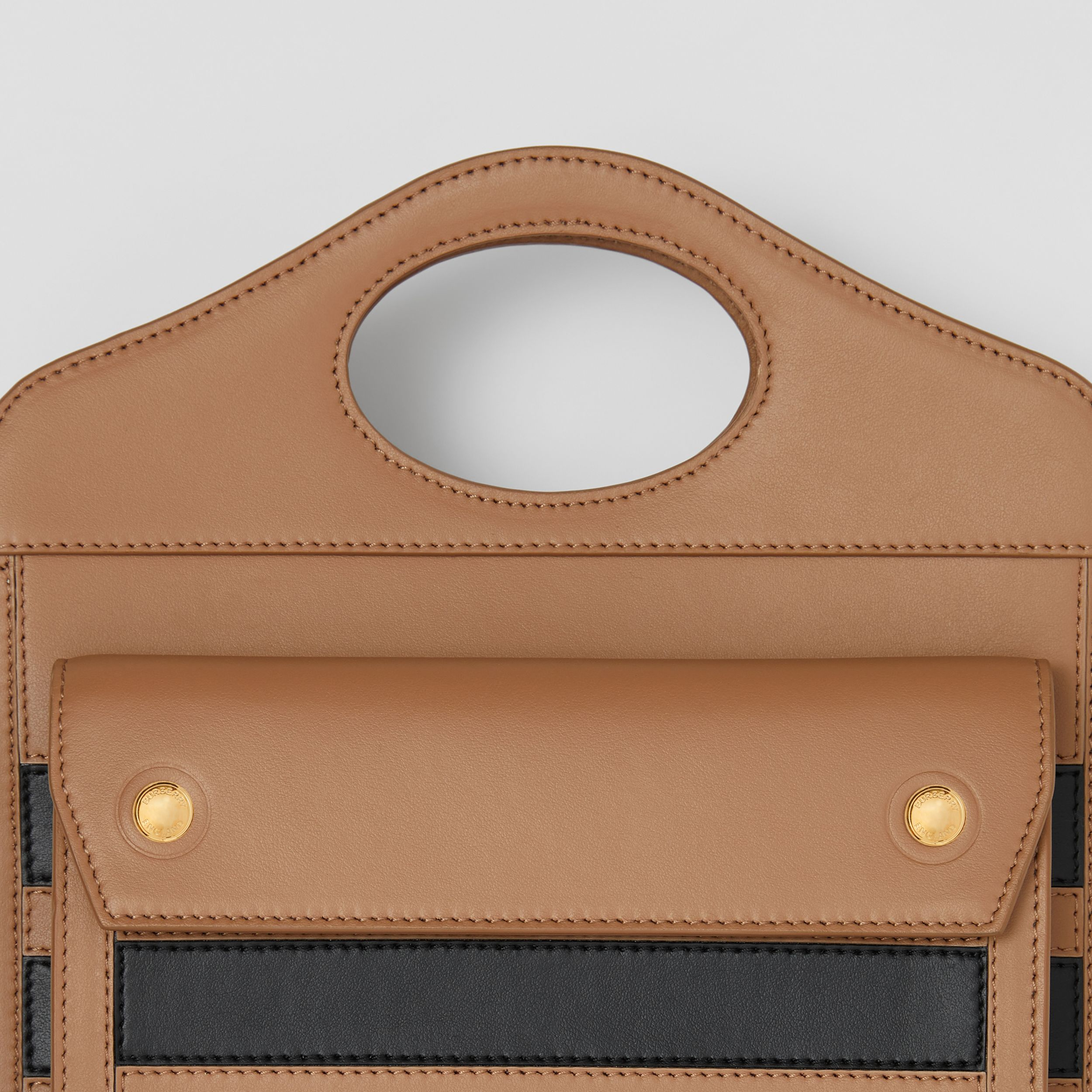 Mini Striped Intarsia Leather Pocket Bag in Camel - Women | Burberry Canada - 2