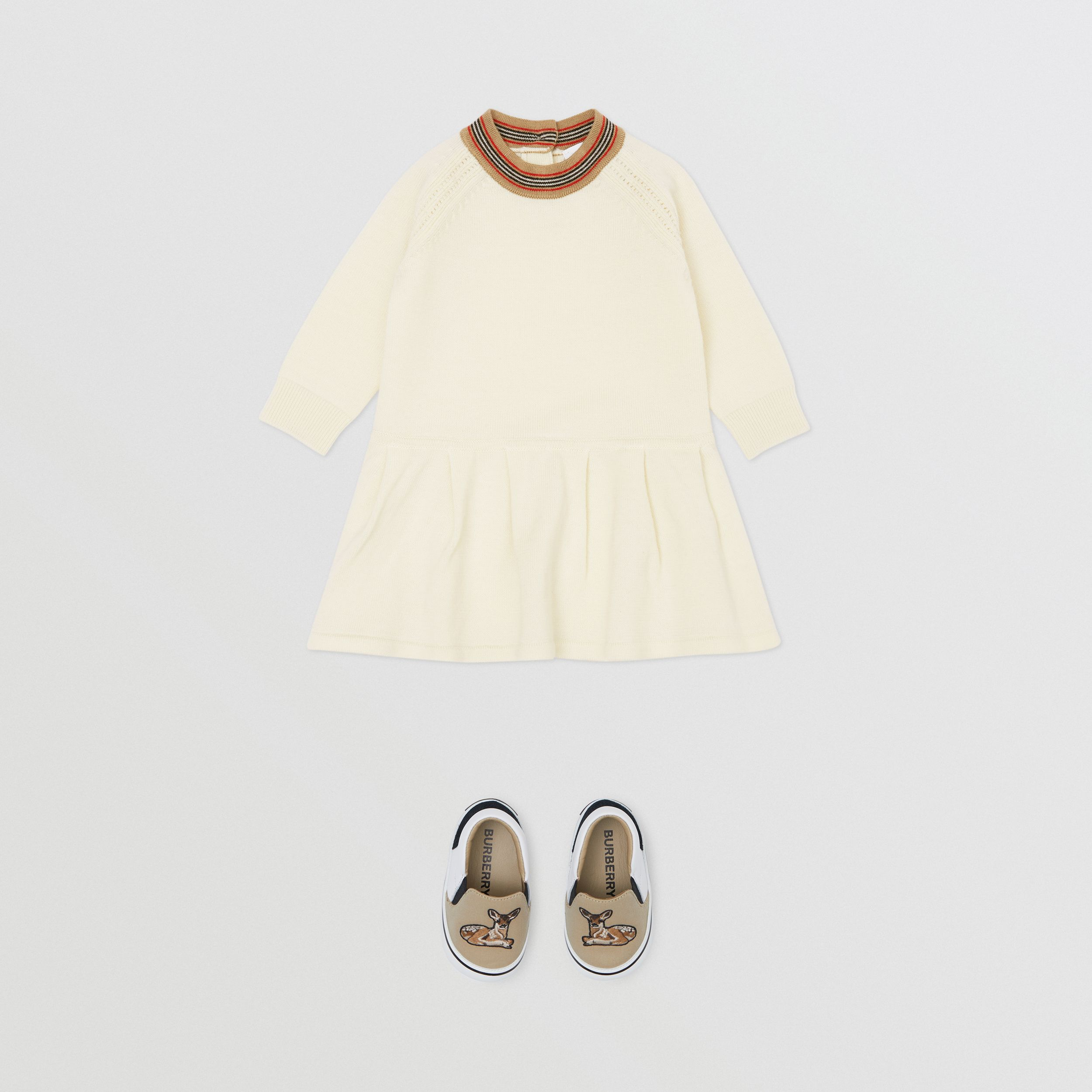Icon Stripe Trim Merino Wool Dress in Ivory - Children | Burberry Canada - 3
