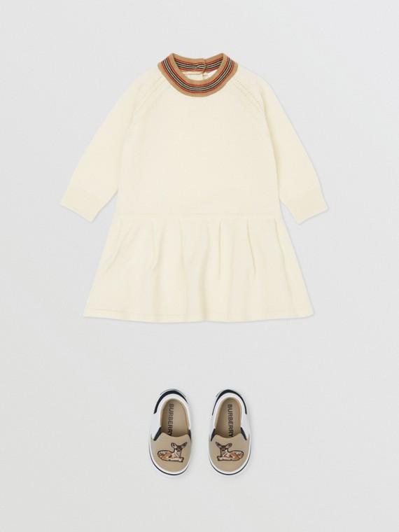 아이콘 스트라이프 트리밍 메리노 울 드레스 (아이보리)