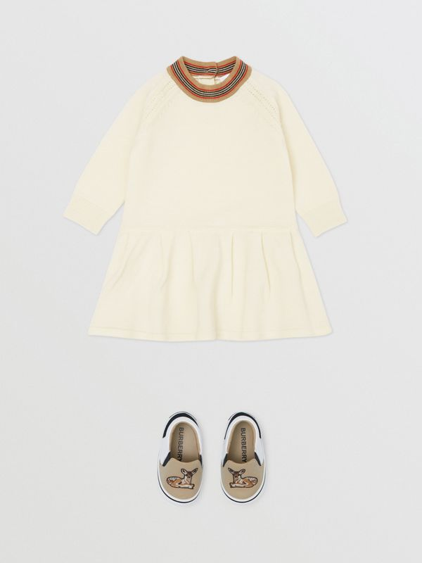 Icon Stripe Trim Merino Wool Dress in Ivory - Children | Burberry United Kingdom - cell image 2
