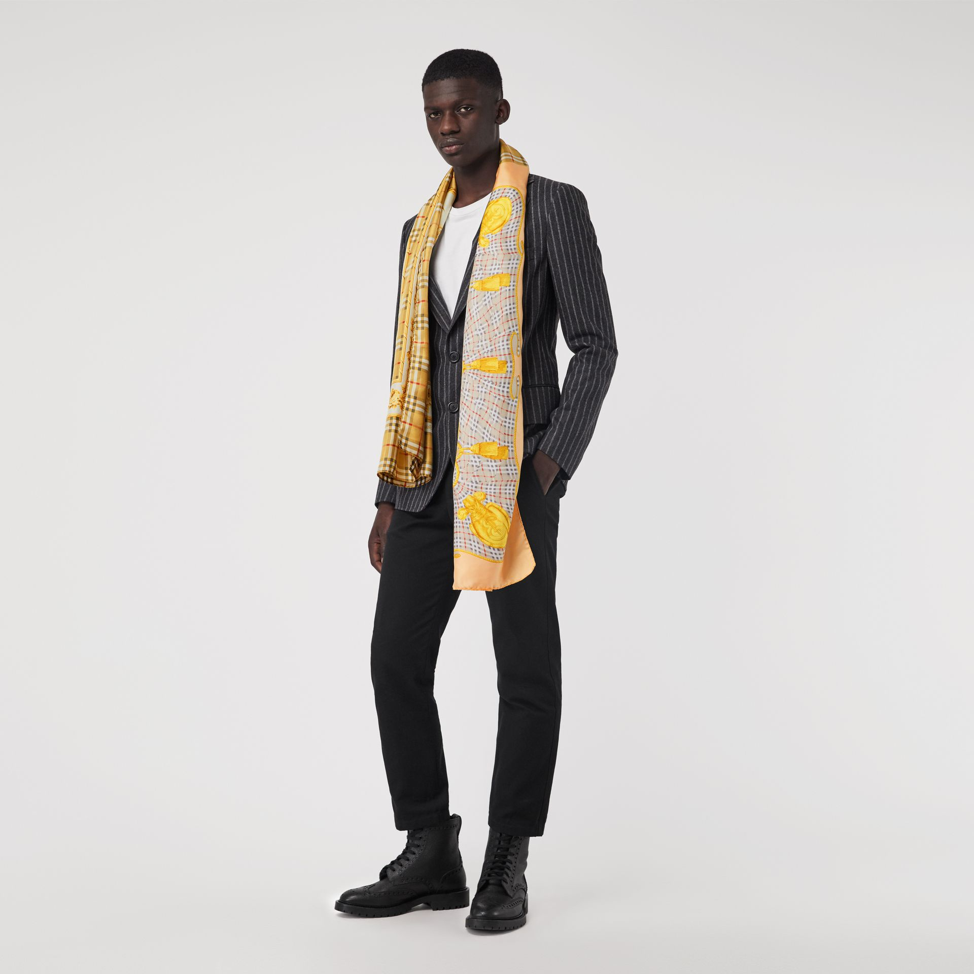 Archive Scarf Print Silk Scarf in Antique Yellow | Burberry - gallery image 2