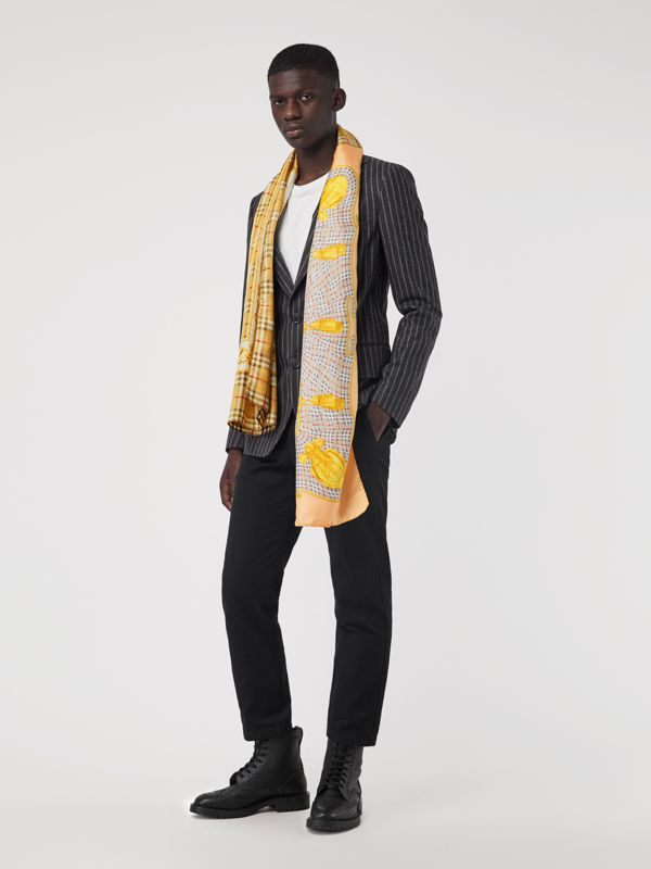 Archive Scarf Print Silk Scarf in Antique Yellow - Women | Burberry Canada - cell image 2