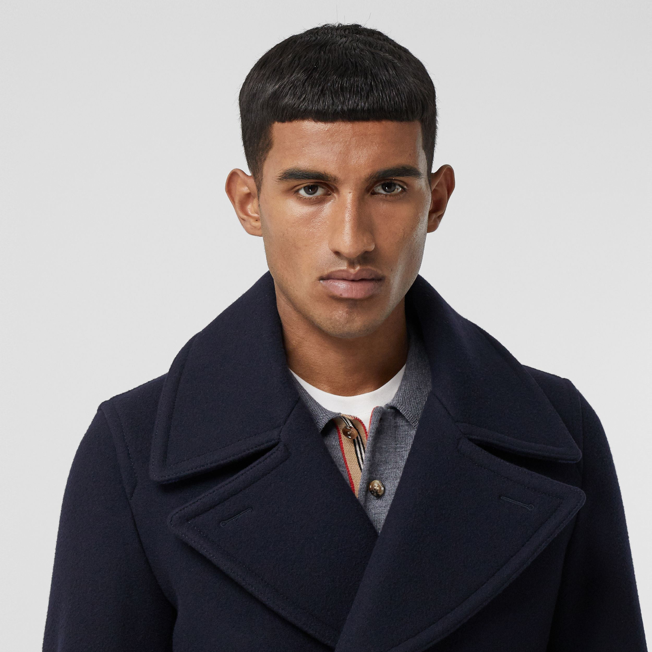 Wool Blend Pea Coat in Navy - Men | Burberry - 2