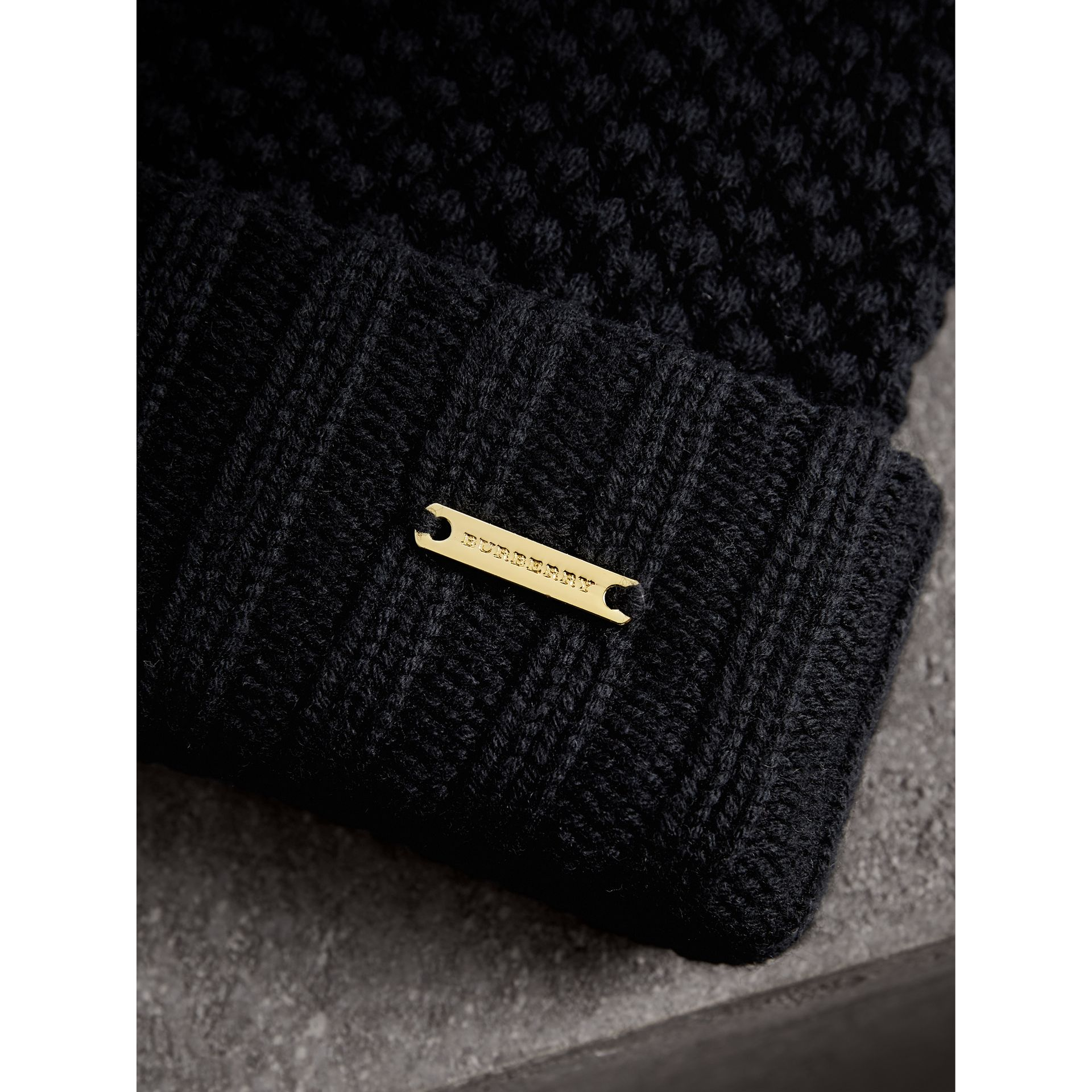 Fur Pom-Pom Beanie in Black - Women | Burberry Singapore - gallery image 1