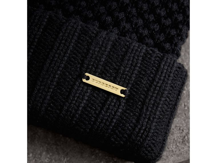 Fur Pom-Pom Beanie in Black - Women | Burberry United Kingdom - cell image 1