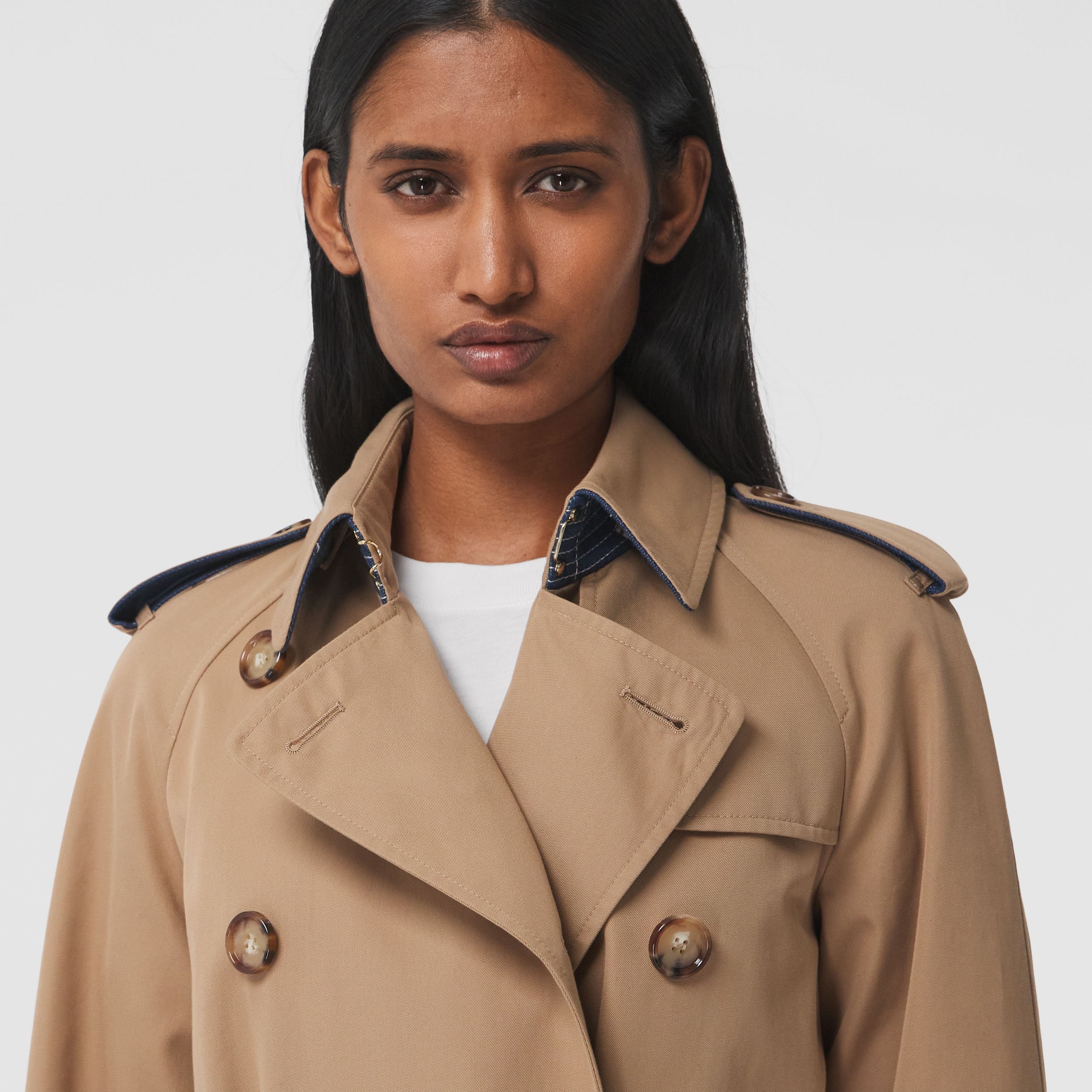Denim Detail Cotton Gabardine Trench Coat in Camel - Women | Burberry - 2