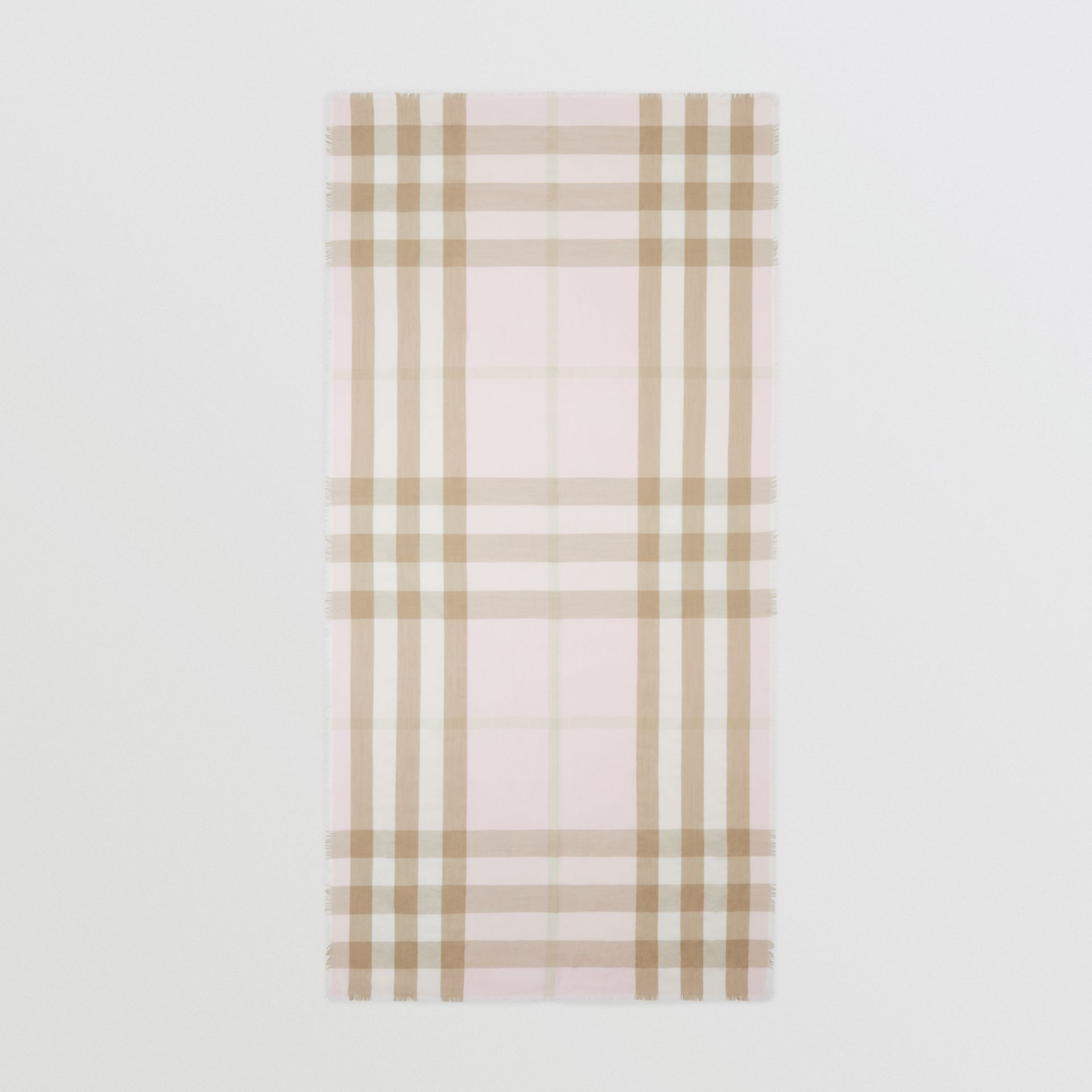 Lightweight Check Cashmere Scarf in Alabaster | Burberry - gallery image 3