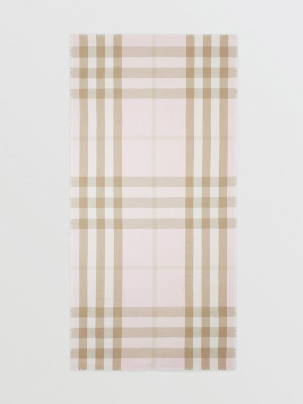 Lightweight Check Cashmere Scarf in Alabaster | Burberry - cell image 3