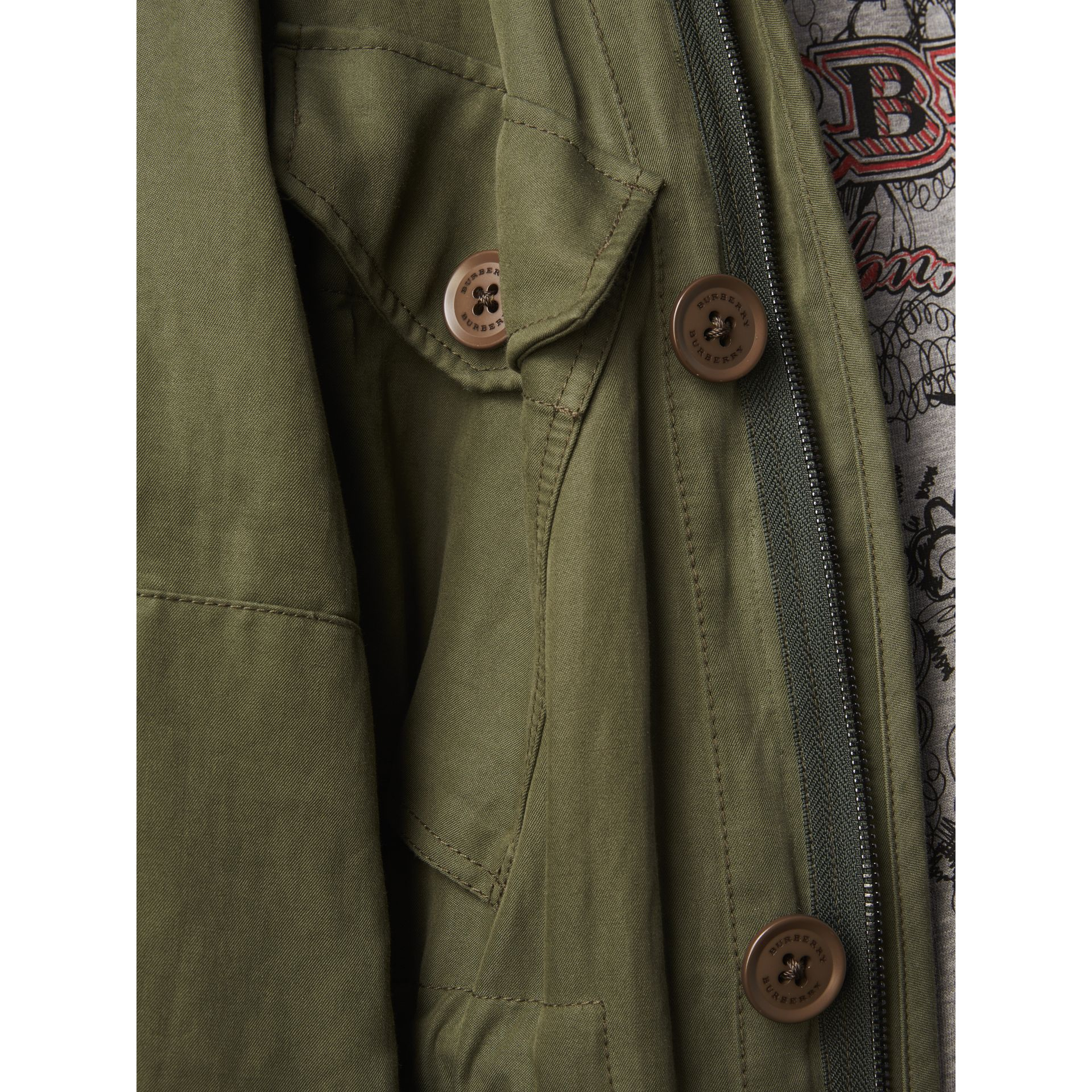 Shearling Collar Ramie Cotton Field Jacket in Olive - Men | Burberry - gallery image 4