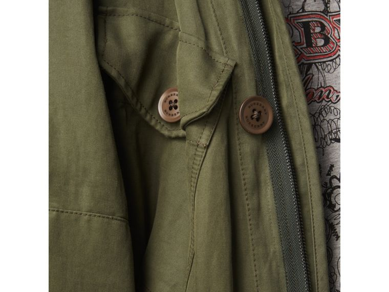 Shearling Collar Ramie Cotton Field Jacket in Olive - Men | Burberry Australia - cell image 4