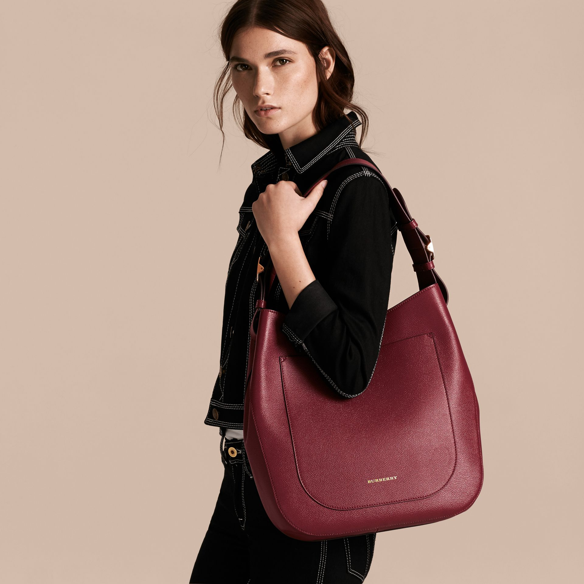 Textured Leather Shoulder Bag in Dark Plum - gallery image 3