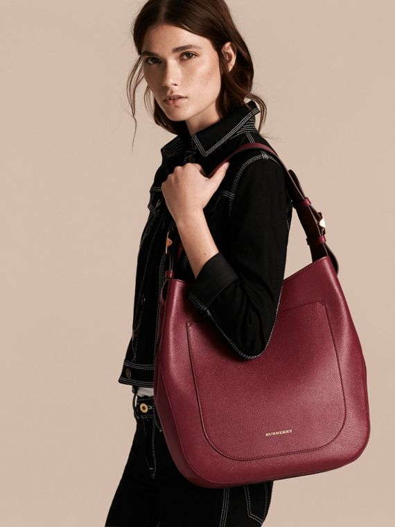 Textured Leather Shoulder Bag in Dark Plum - cell image 2
