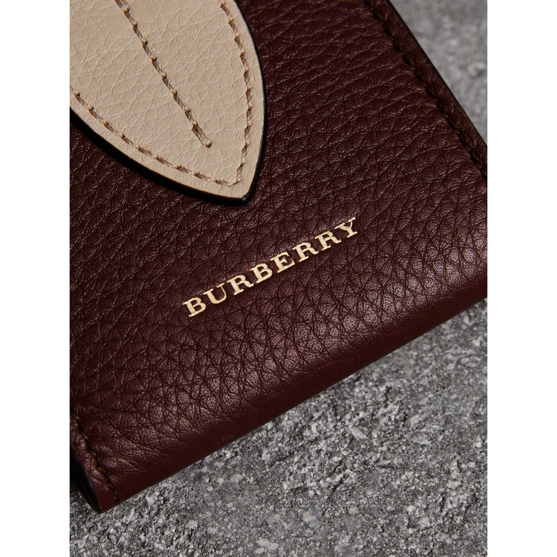 Small Square Leather Coin Case Charm in Deep Claret/limestone - Women | Burberry - gallery image 1