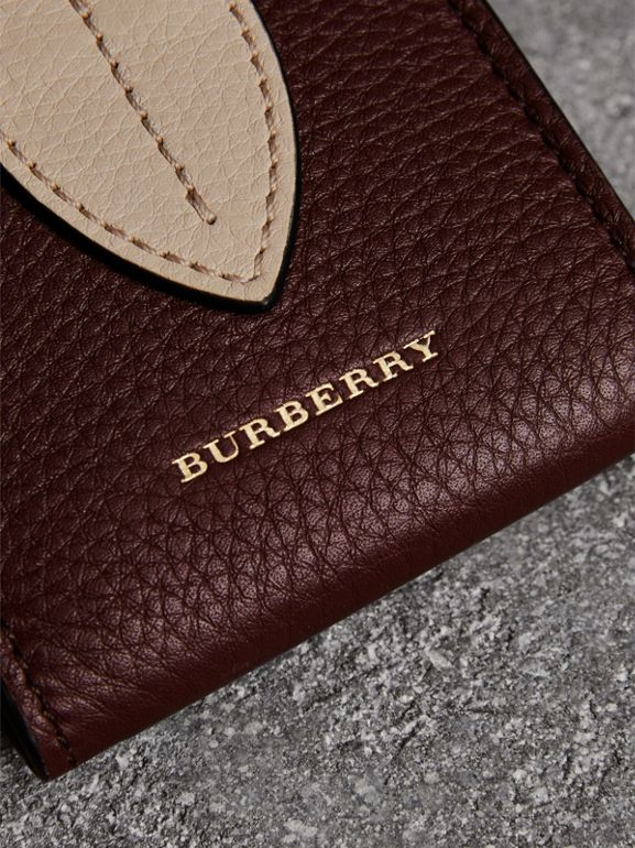Small Square Leather Coin Case Charm in Deep Claret/limestone - Women | Burberry - cell image 1