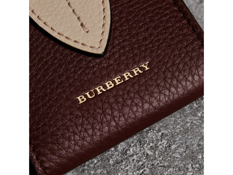 Small Square Leather Coin Case Charm in Deep Claret/limestone - Women | Burberry Canada - cell image 1