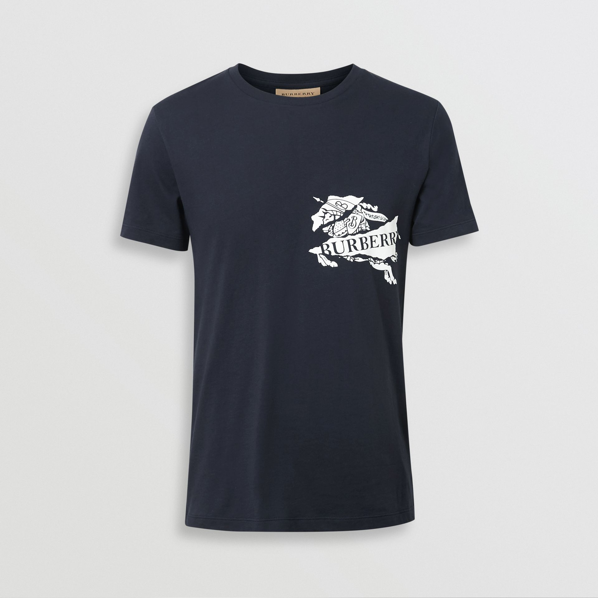Collage Logo Print Cotton T-shirt in Navy - Men | Burberry - gallery image 3