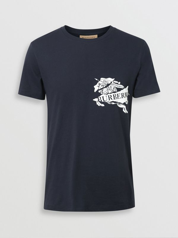 Collage Logo Print Cotton T-shirt in Navy - Men | Burberry - cell image 3